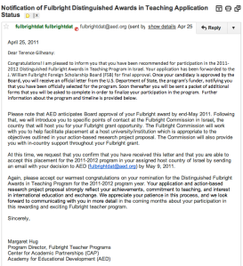 Fulbright likely letter