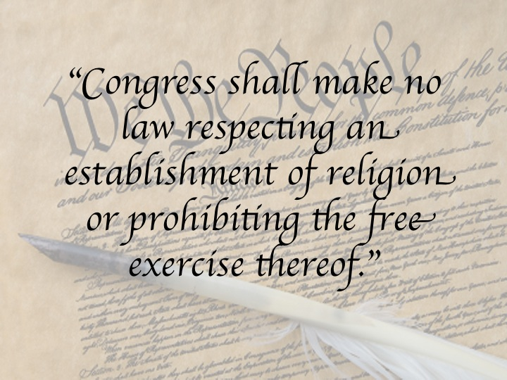 a description of the amendment i on congress making no law respecting an establishment of religion Another example is the following sentence: the us constitution notes that congress shall make no law respecting an establishment of religion, or prohibiting the free exercise thereof 2 place the in-text citation at the end of the sentence.