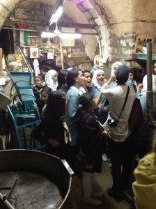 Palestinian school girls talking with my sister in Nablus